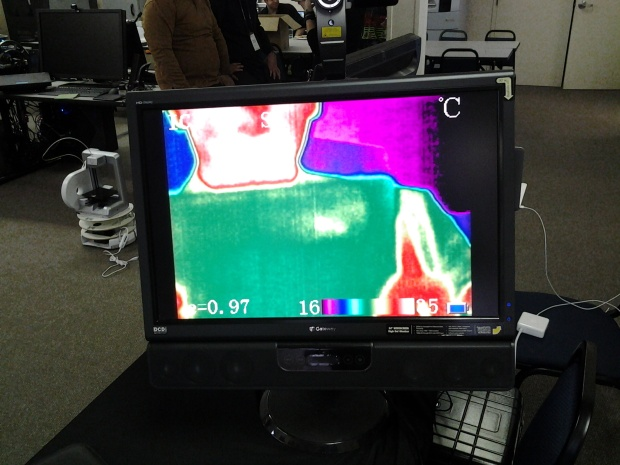 Participants, including me, play with anything they find such as a heat camera.