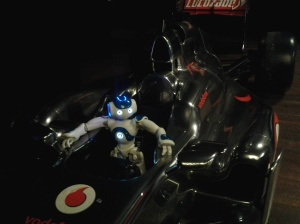 Moreover, you would never expect to see a little robot sitting in a Formula-1 car at a TEDx event.