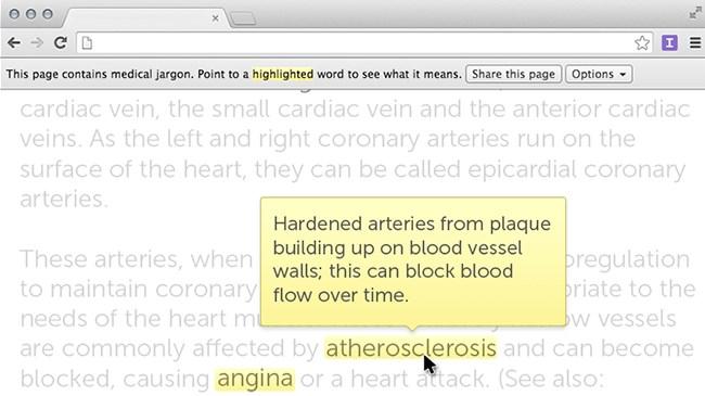 Translate medical jargon on any web page!